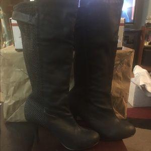 High heeled tall boots